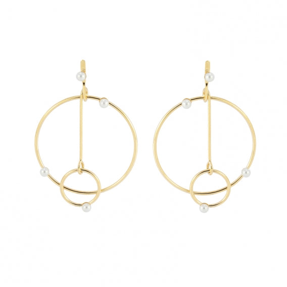 Circle Art Pearl Earrings IV