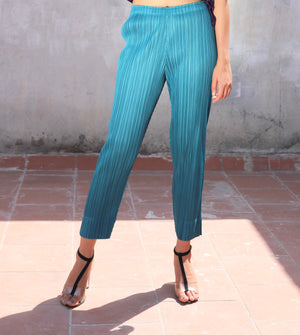 Pleated Slim Pants - Teal