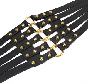 Strappy Corset Belt - Black & Gold