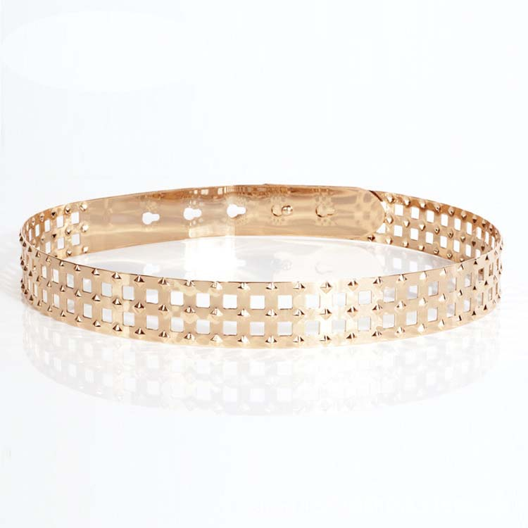 Studded Checks Laser Cut Metal Belt - 3cm - Gold