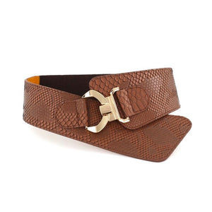 Textured Overlap Belt - Tan