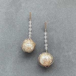 Crystal Pearl Earrings - Matte Champagne Gold