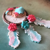 TRIBAL BABY SHOWER CAKE TOPPER, BOHO Baby shower Nursery Feathers  Dream catcher Bohemian baby fondant cake topper