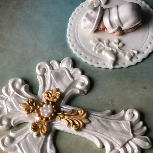 CHRISTENING CAKE TOPPER, BAPTISM CAKE TOPPER FONDANT CROSS FIRST HOLY COMMUNION, CHRISTENING GOWN