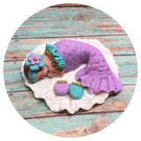 MERMAID BABY SHOWER FONDANT CAKE TOPPER Nautical baby shower sea ocean nursery mermaid invitations theme