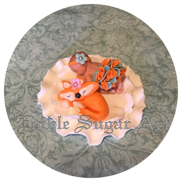 FOX BABY SHOWER WOODLAND CAKE Topper FOX Fondant Baby Shower Decorations