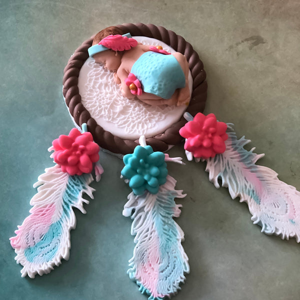 DREAM CATCHER BABY Shower  Cake Topper, Boho Party Decor, Boho Theme Decorations, Tribal Baby Girl Shower, Boho Cake Topper Baby Girl