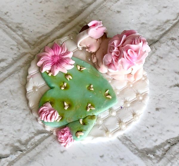 CACTUS BABY SHOWER Fondant Cake Topper Cacti Succulent baby Shower