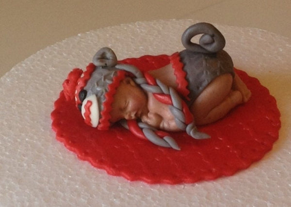 SOCK MONKEY BABY Shower Cake Topper Fondant Sock monkey Hat Baby shower