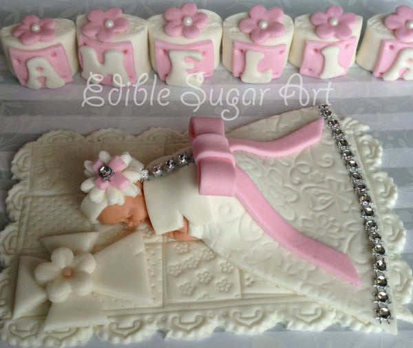 CHRISTENING CAKE TOPPER baptism gown cross bible cake Baby Girl Christening gown BaptismDiamond studded dress communion dress cross baptism