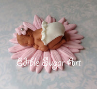GIRLY BABY SHOWER cake topper, girl baby shower fondant cake topper, personalized cake topper, vintage baby shower cake topper