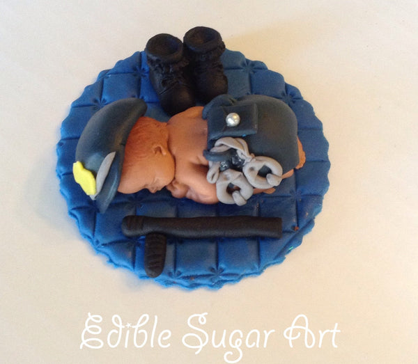 POLICE BABY SHOWER Cake Topper police Officer fondant cake topper