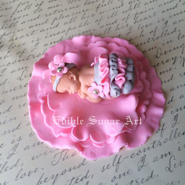 PINK and GRAY BABY Shower Fondant Cake topper