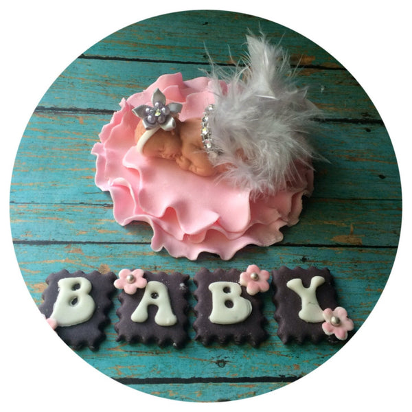 BABY SHOWER FONDANT Cake topper / Cake Topper Baby Shower / Girl baby shower cake topper / personalized baby shower cake topper / baby