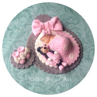 MINNIE MOUSE BABY Shower Fondant Cake Topper Baby Booties and quilt