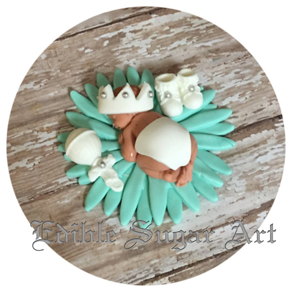 BOY BABY SHOWER fondant cake topper