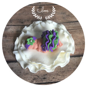PURPLE BABY SHOWER CAKE TOPPER Fondant Baby Shower Decorations