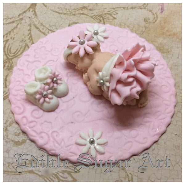BABY SHOWER CAKE TOPPER  / Vintage Baby Shower /  Princess baby fondant cake topper
