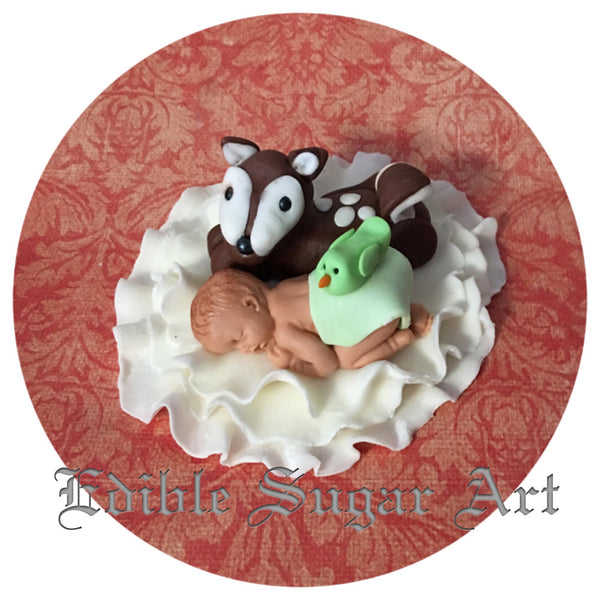 WOODLAND BABY SHOWER FONDANT CAKE TOPPER BABY SHOWER CAKE Topper Fondant Baby Shower Decorations