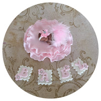PRINCESS PINK SHOWER CAKE TOPPER Fondant Baby Shower Decorations