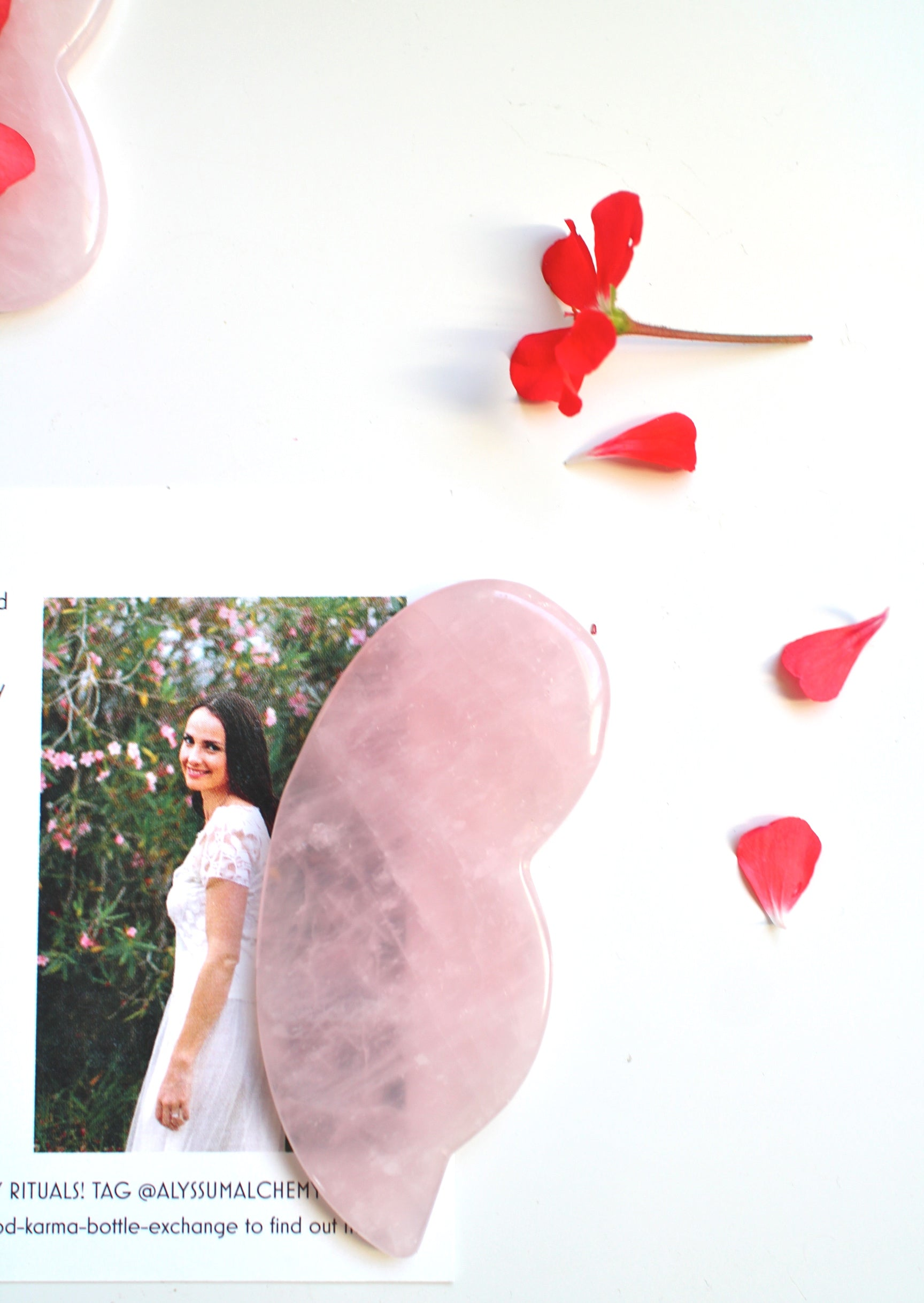 rose quartz gua sha angel wing facial ritual