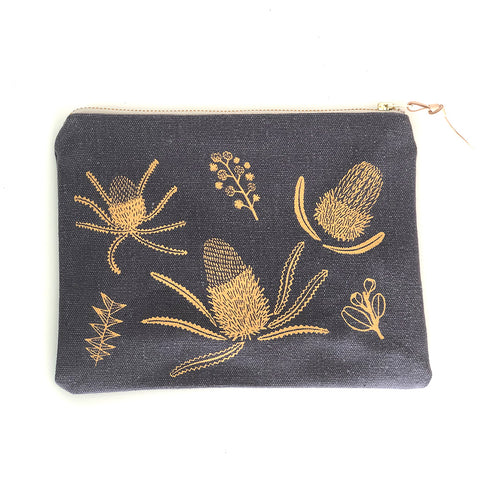 Handmade Banksia Pouch - Charcoal and Gold