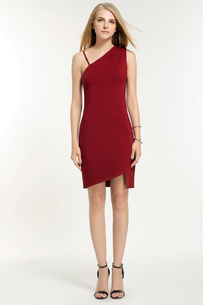 282eeb0928d3 ... Ella Rodrigues - Maroon Red or Black One Shoulder Strap Dress - Urban  Bandit ...