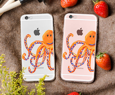 Watercolor Orange Octopus iphone case