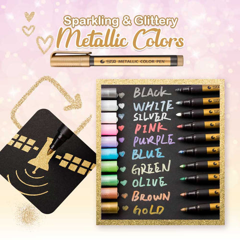 Waterproof Glitter Paint Marker (10 Pack)
