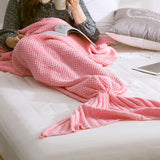Mermaid Tail Blanket knitted Crochet Super Soft All Seasons Sleeping Blankets