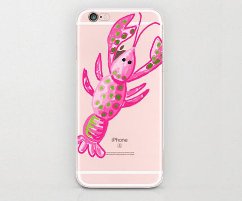 Watercolor Pink Sea Lobster iphone case