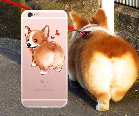 Cute Corgi butt clear iphone case