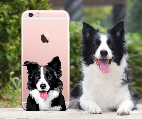 Border collie clear iphone case