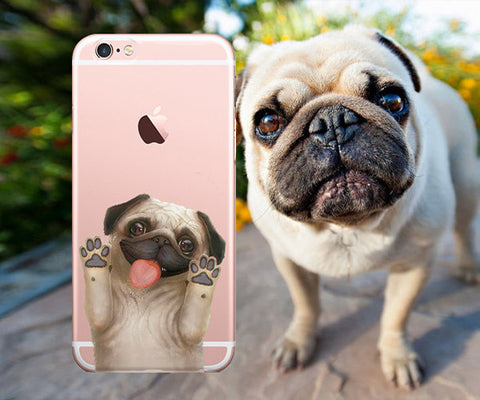 Cute Pug clear iphone case