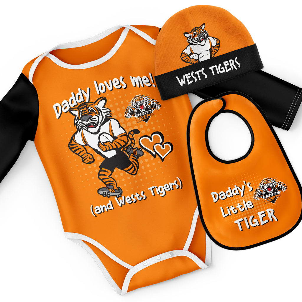 NRL Wests Tigers 3pc Bodysuit Gift Set - 'Daddy Loves Me' Ashtabula