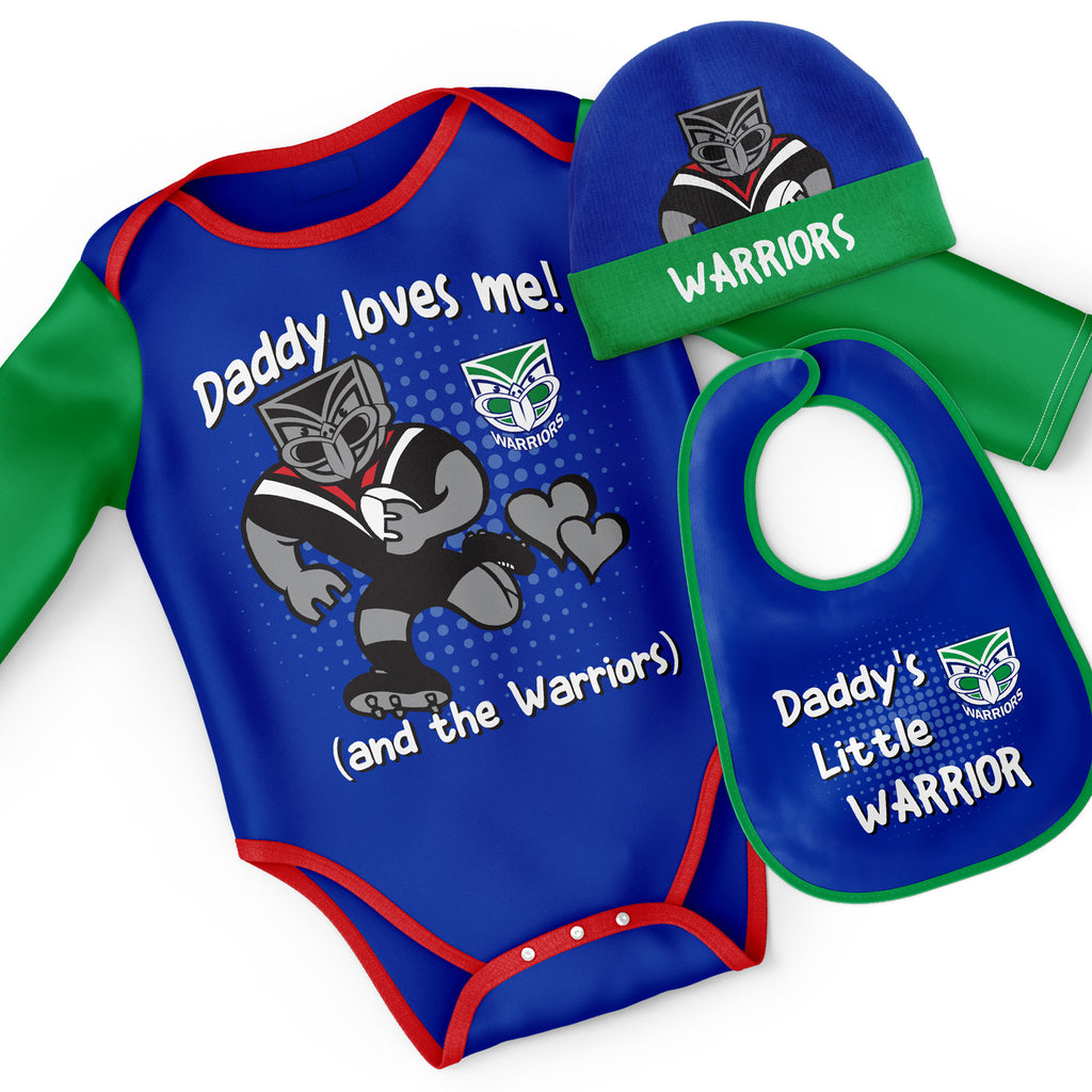 NRL Warriors 3pc Bodysuit Gift Set - 'Daddy Loves Me' Ashtabula