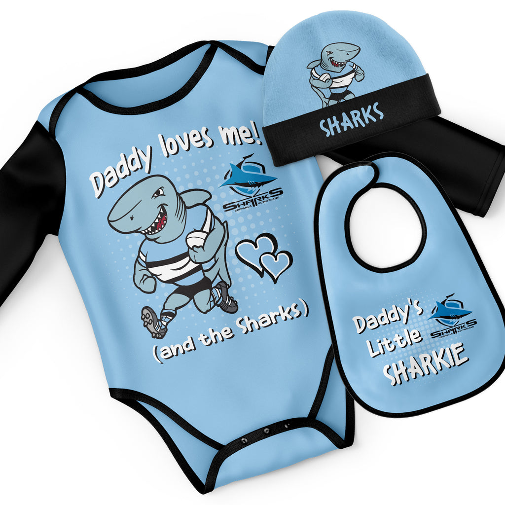 NRL Sharks 3pc Bodysuit Gift Set - 'Daddy Loves Me' Ashtabula