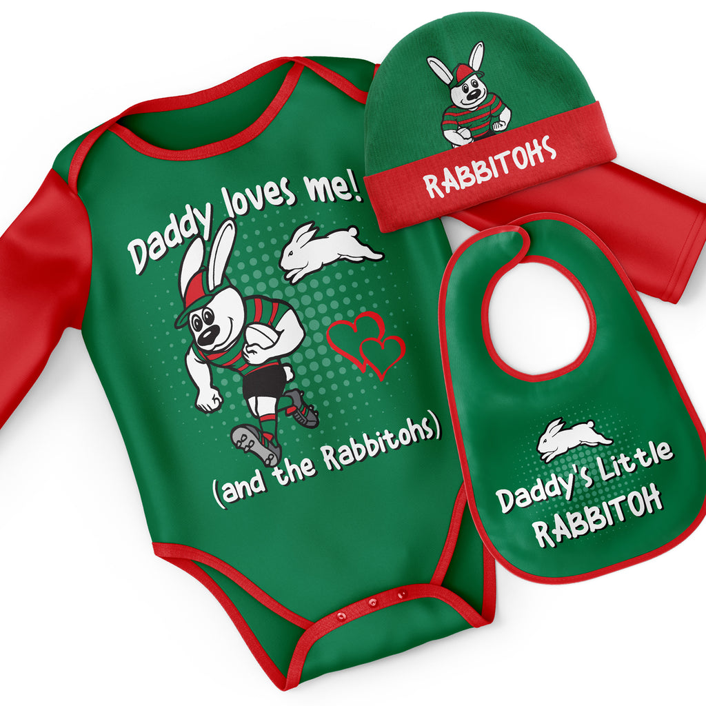 NRL Rabbitohs 3pc Bodysuit Gift Set  - 'Daddy Loves Me' Ashtabula