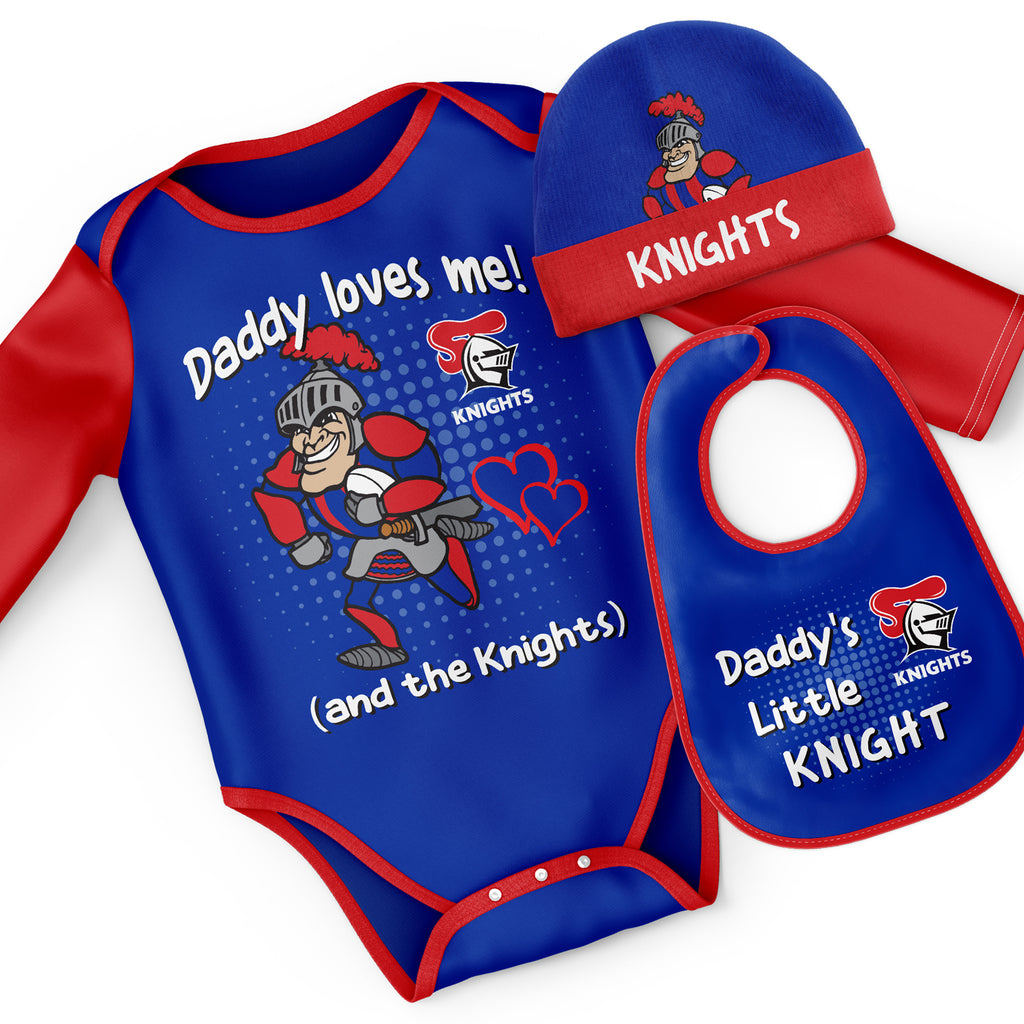 NRL Knights 3pc Bodysuit Gift Set - 'Daddy Loves Me' Ashtabula
