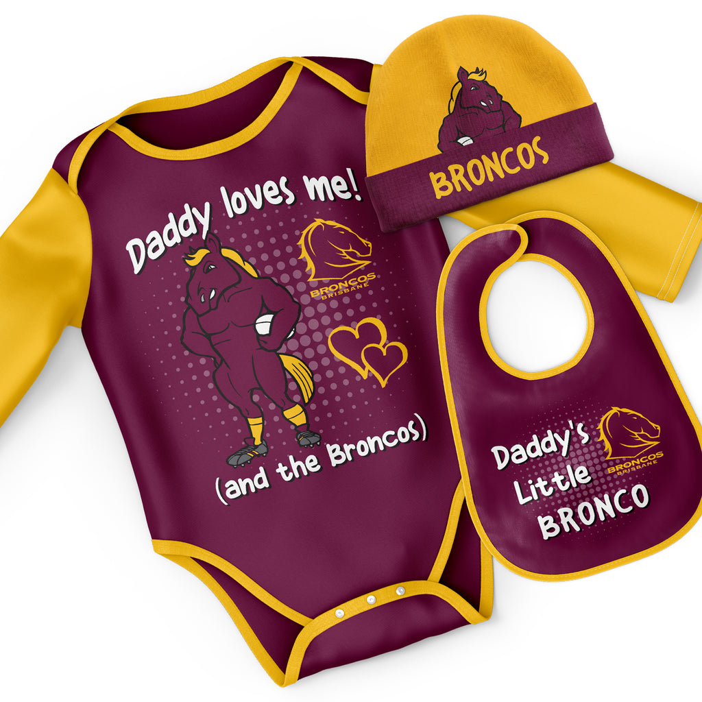 NRL Broncos 3pc Bodysuit Gift Set - 'Daddy Loves Me' Ashtabula