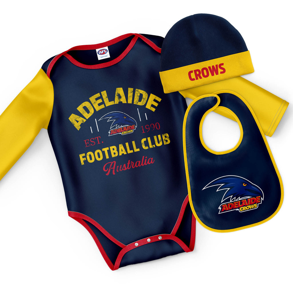 "AFL Adelaide Crows ""Rover"" 3pc Bodysuit Gift Set"