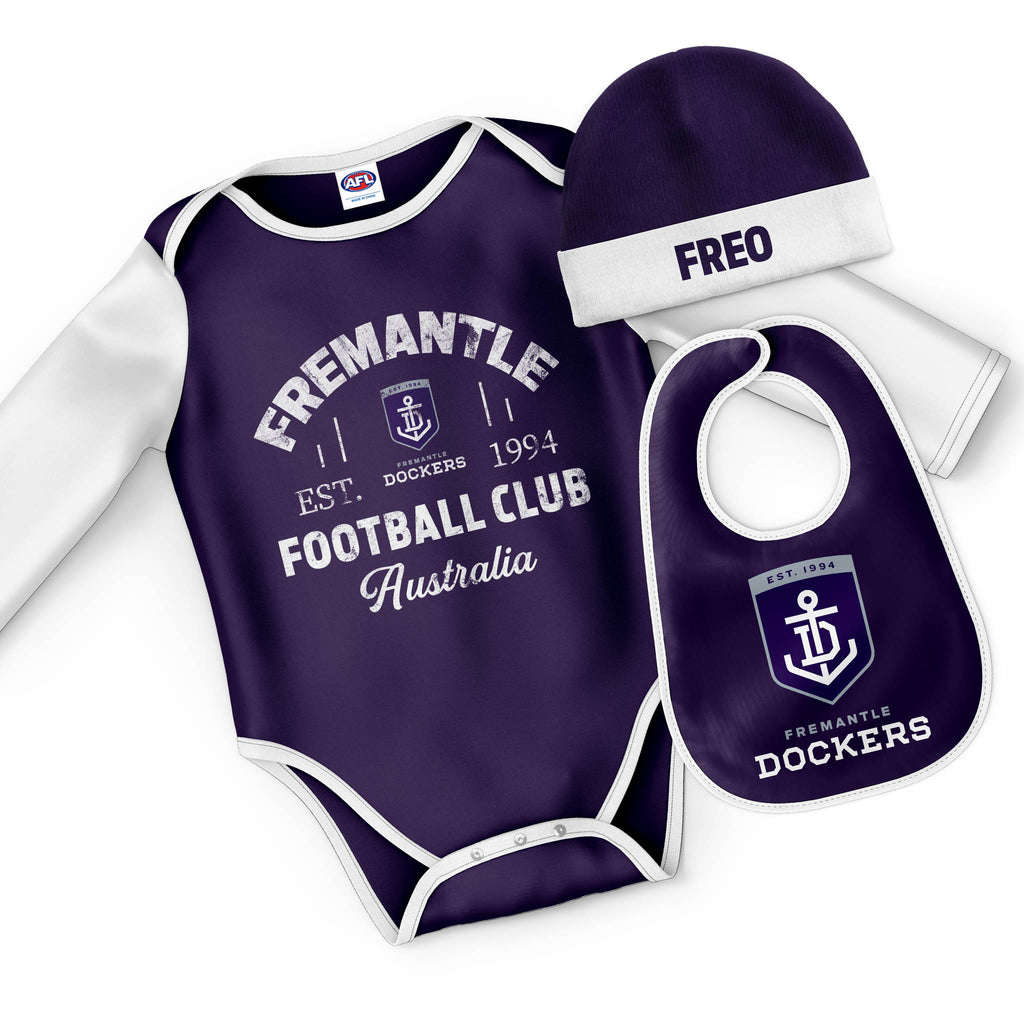 "AFL Fremantle Dockers ""Rover"" 3pc Bodysuit Gift Set"
