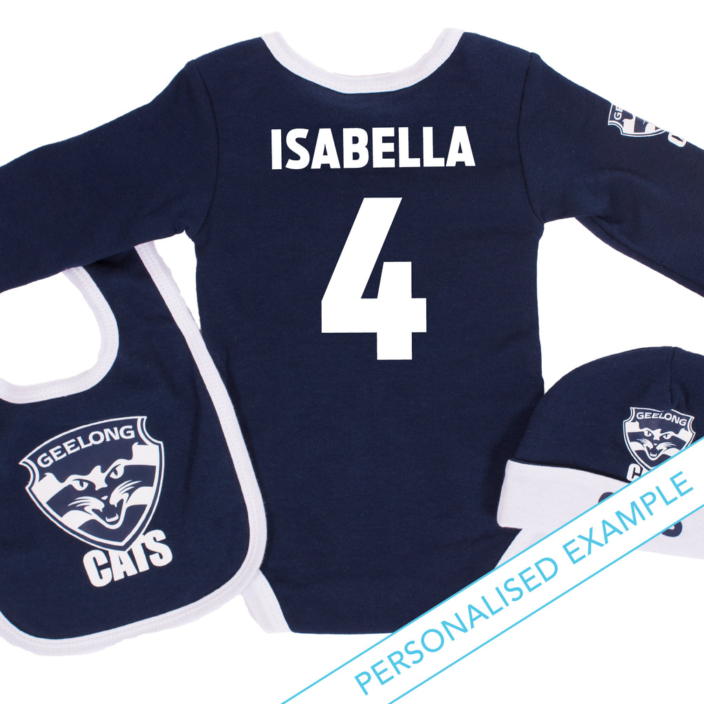 AFL Geelong Cats 3pc Bodysuit Gift Set AshTabula