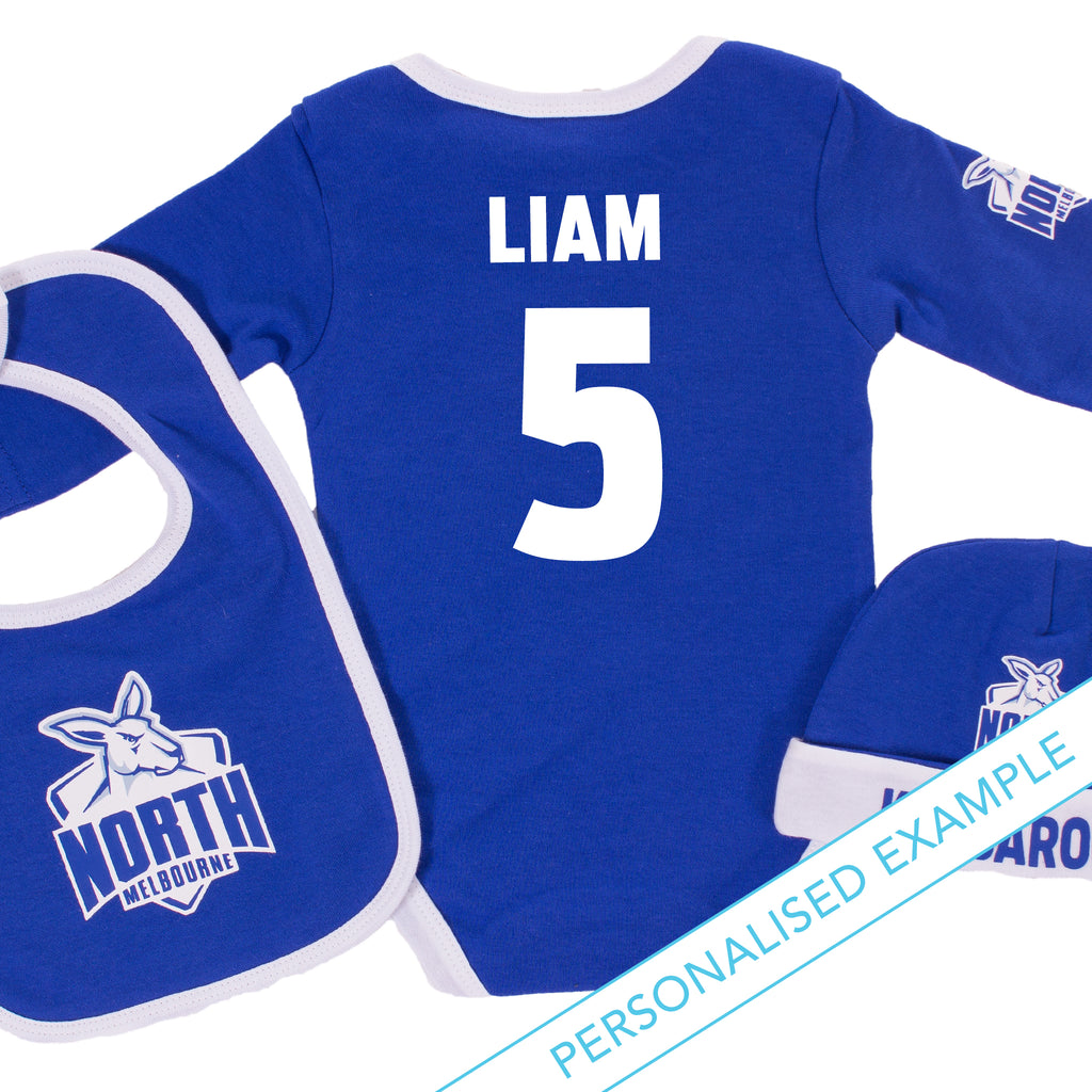 AFL North Melbourne 3pc Bodysuit Gift Set AshTabula