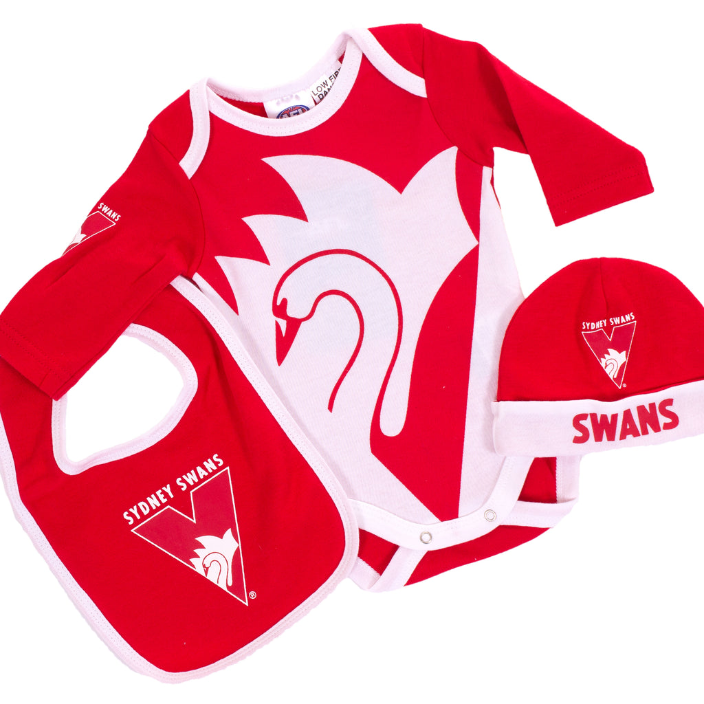 AFL Sydney Swans 3pc Bodysuit Gift Set Ashtabula