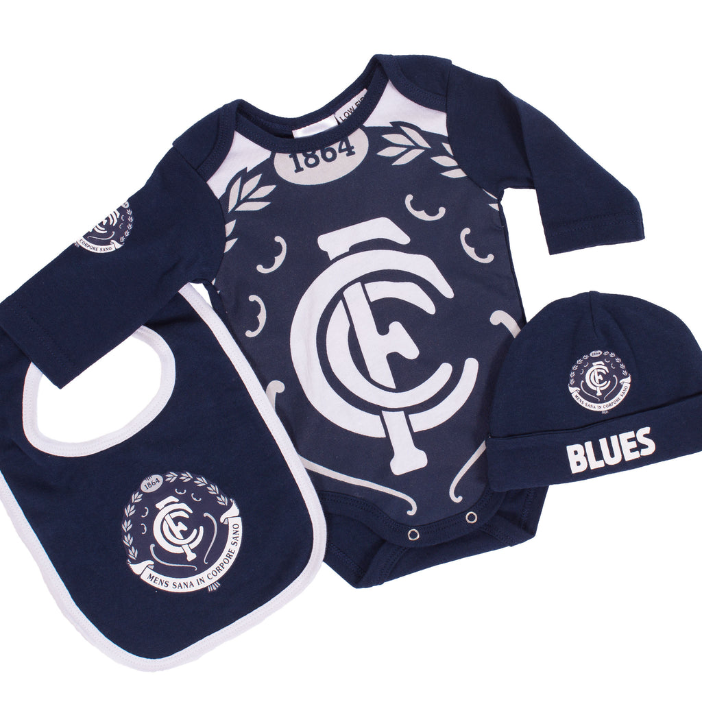 AFL Carlton 3pc Bodysuit Gift Set AshTabula