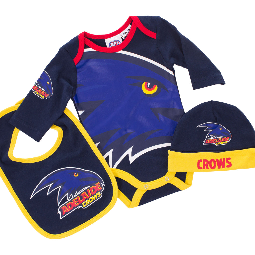 AFL Adelaide Crows 3pc Bodysuit Gift Set AshTabula