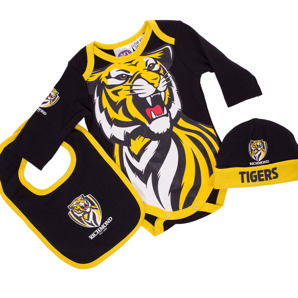 AFL Richmond Tigers 3pc Bodysuit Gift Set AshTabula