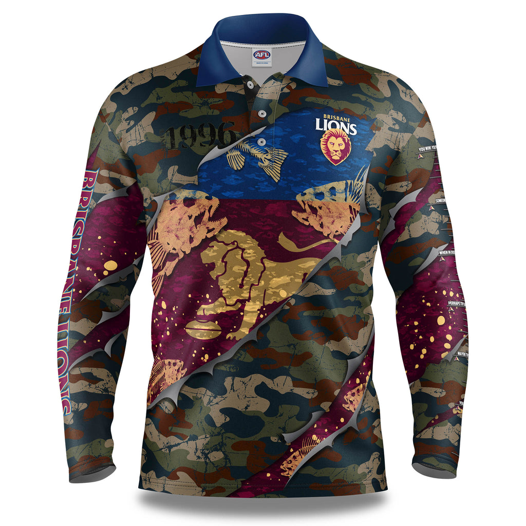 "AFL Brisbane Lions ""Skeletor"" Fishing Shirt - Youth"