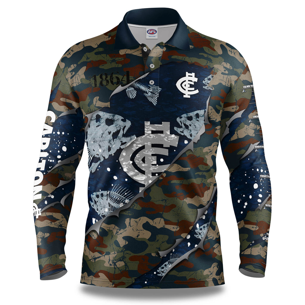 "AFL Carlton ""Skeletor"" Fishing Shirt - Youth"